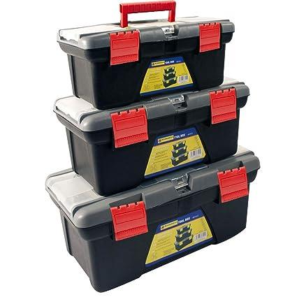Bargains Galore 3pc Plastic Tool Box Chest Set Handle Tray Compartment Diy Storage Toolbox Bag