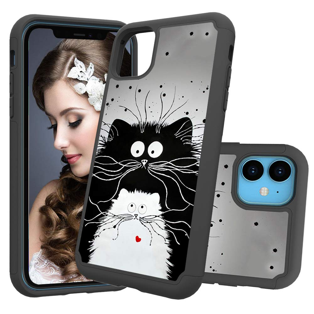 iPhone 11 (iPhone 2019 6.1 Inch) Case, Futanwei 2 Layer Heavy Duty Shock Resistant Hybrid Armor Cute Beautiful Painted Defender Phone Case for Apple iPhone 11 2019, cat by Futanwei
