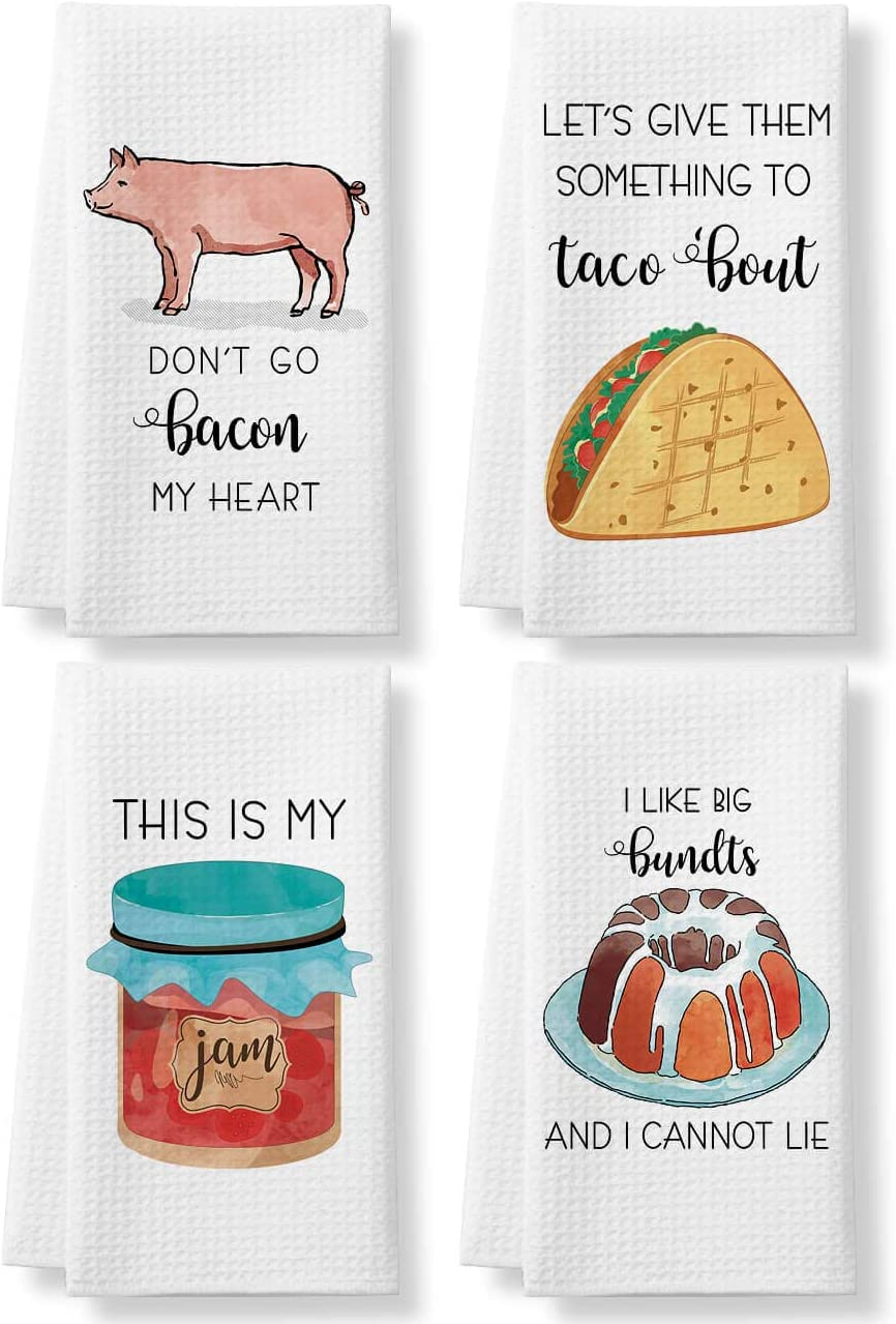 KLL Funny Kitchen Towels - Funny Dish Towels Set of 4- Housewarming Gifts - Kitchen Decor, Gifts for Mom, Hostess Gifts, Wedding Shower Gifts - Waffle Towel