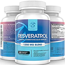 Resveratrol - 1250 MG Supplements - With Curcumin & Green Tea + Grape Seed Extract - All Natural Formula for Immune & Cardiovascular System - Anti Aging Antioxidant Skin Care - 60 Capsules