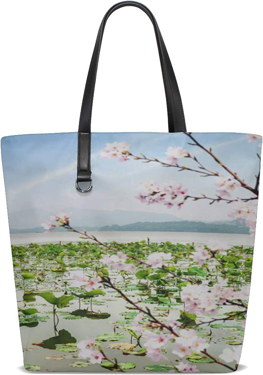 Diy Tote Bag For Women Handle Satchel Travel Tote Bag Women Purse Messenger Bags Girls Shoulder Bag Beautiful View Hangzhou Lake West Printing Mens Bag Shoulder