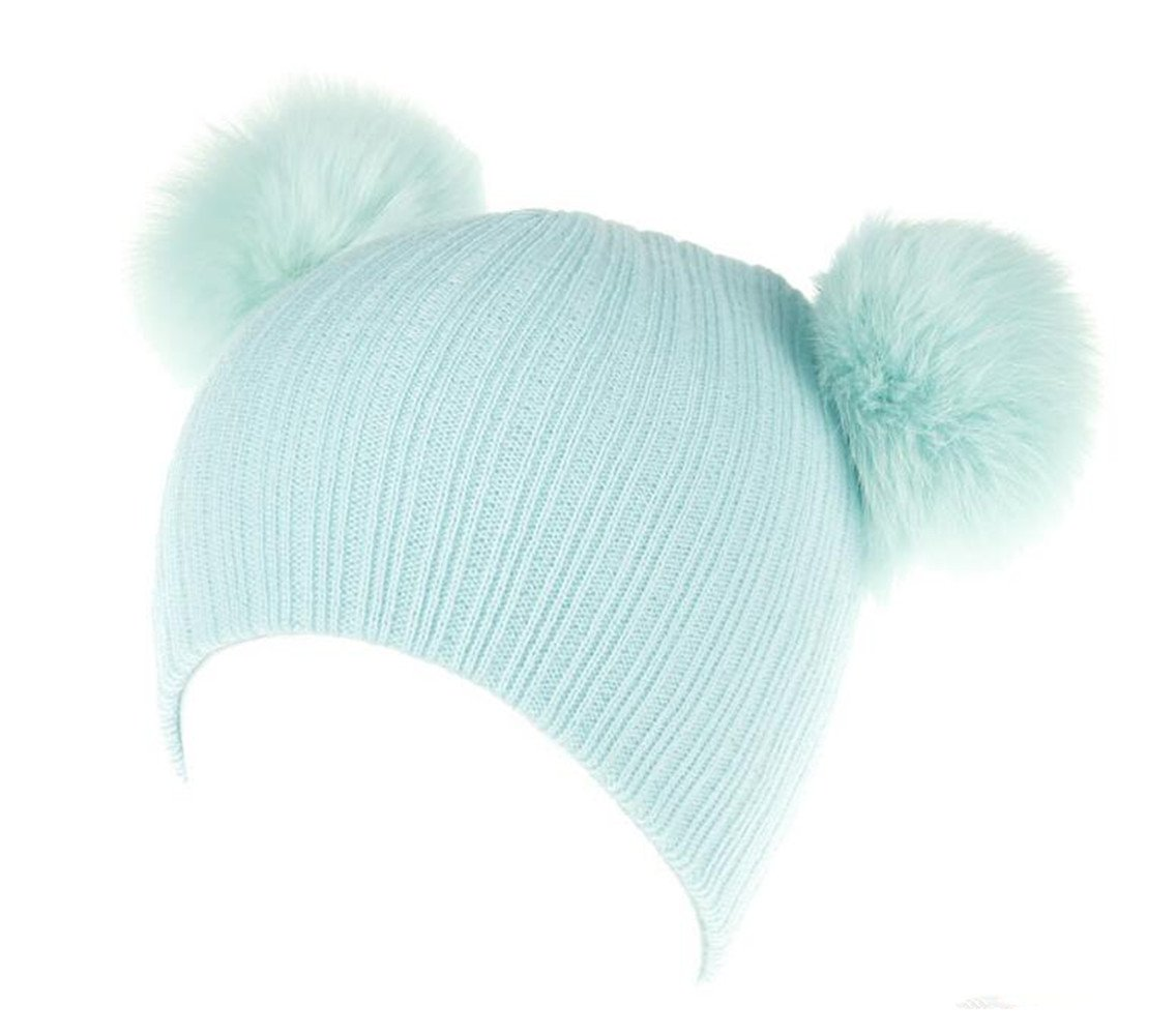Baby Kids Toddler Warm Hat - Winter Knit Double Pom Pom Beanie Hat With Hair Tie.