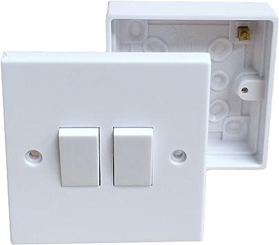 Interruptor de pared doble y caja trasera pattress. Eléctrico ...
