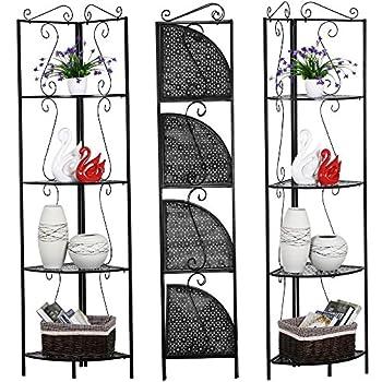 Topeakmart 4 Tier Metal Corner Shelf Unit Iron Art Storage Shelves for Bathroom Living Room Bedroom Black
