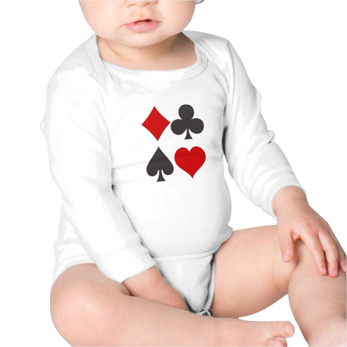 Pikaqiuleilei Playing Card Symbols Baby Cotton,Long Sleeve Baby Romper