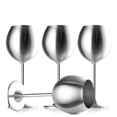 Stainless Steel Stemmed Wine Glasses, Set of 4, 12 Oz Elegant Wine Glasses Made of Dishwasher Safe Unbreakable BPA Free Shatterproof SS Great for Daily, Formal & Outdoor Use