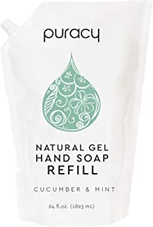 product image for Puracy Natural Gel Hand Soap Refill, Cucumber & Mint, 64 Ounce, Skin Softening Liquid Hand Wash