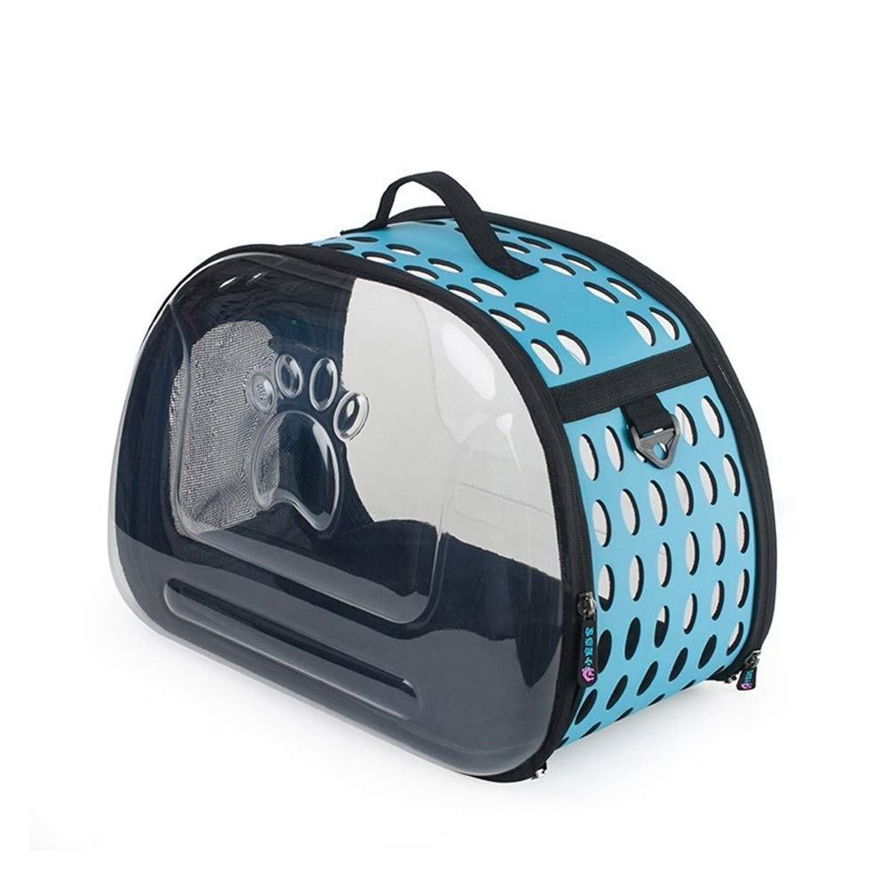bluee BigShiAUSPICIOUS Foldable Out Portable Transparent Breathable Pet Bag Cat Bag Dog Backpack (color   bluee)