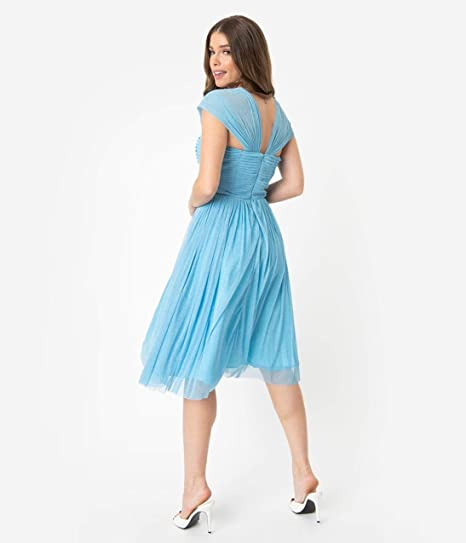 f09468fa Unique Vintage Light Blue Glitter Mesh Garden State Cocktail Dress at  Amazon Women's Clothing store: