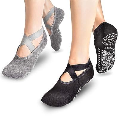 2PCS - Women's Non-Slip Yoga Socks, Clasped Pilates Socks, Suitable for Women's Non-Slip Grips & Straps, Women's Yoga, Fitness, Dancers' Choice.: Clothing