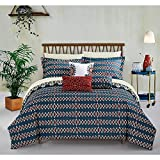 10pc Yellow Gold Blue African Themed Comforter King Set, Hippie Pattern Bedding Tribal Native American Africa Bohemain Boho Artistic Spice Red Diamond Southwest, Microfiber Polyester