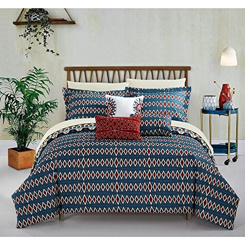 10pc Yellow Gold Blue African Themed Comforter King Set, Hippie Pattern Bedding Tribal Native American Africa Bohemain Boho Artistic Spice Red Diamond Southwest, Microfiber Polyester by DP