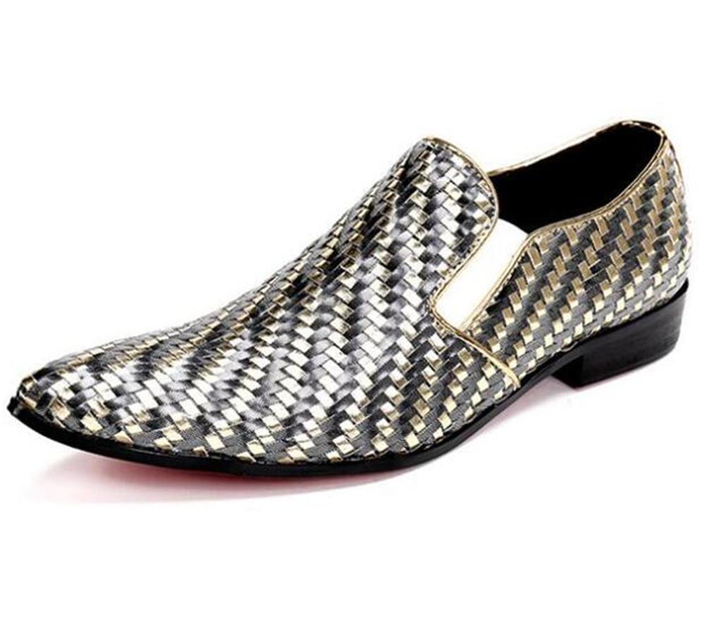 Zapatos de hombre Tejeduría Cuero Club nocturno Fiesta de vestir Puntera de metal Barbero Tamaño 38 a 45 , EU45 EU45