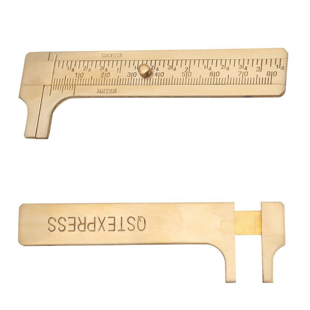 Handy Sliding Gauge Brass Vernier Caliper Ruler Measuring Tool Double Scales mm//inch Mini Brass Pocket Ruler 80mm