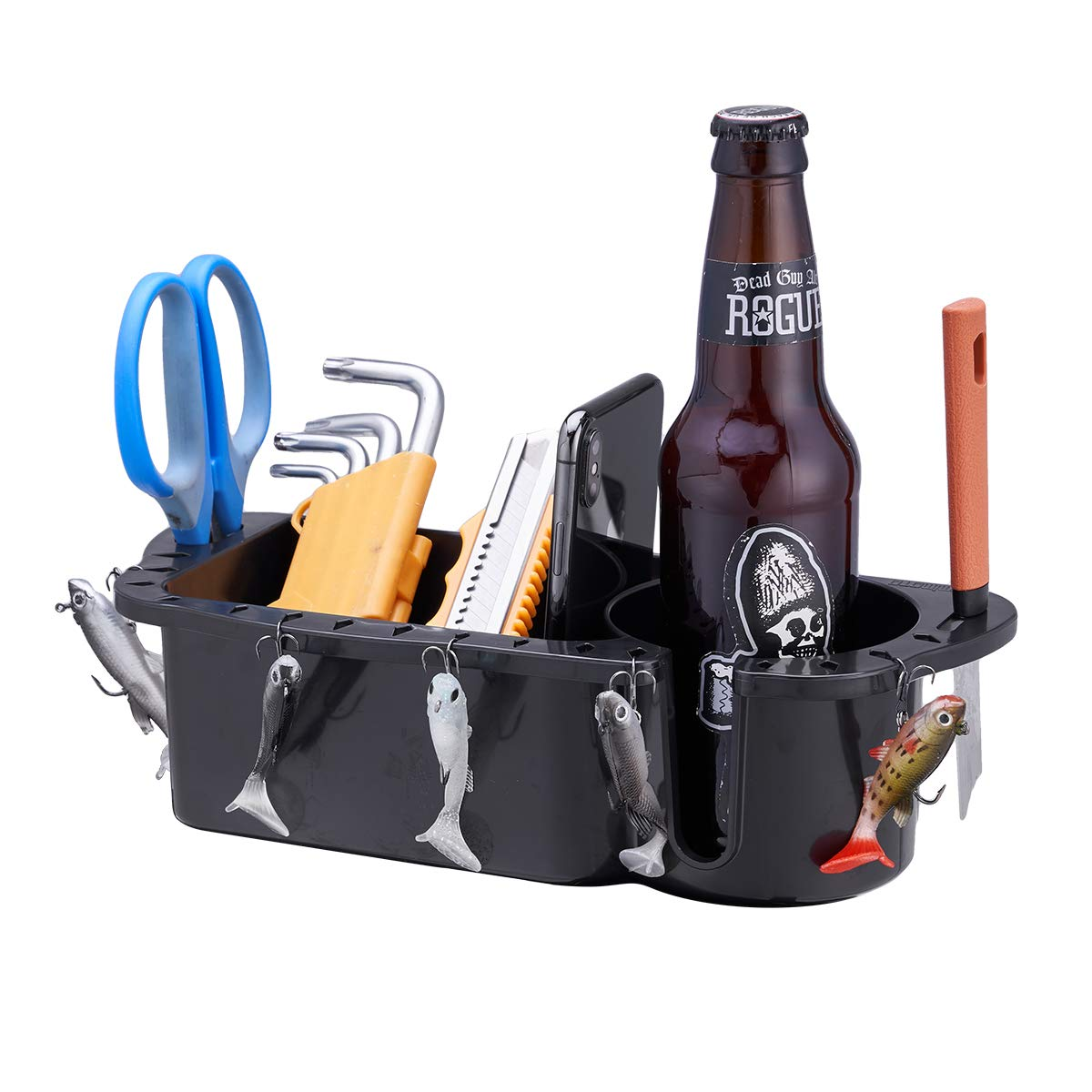 kemimoto Boat Organizer, Boat Cup Holder Marine Caddy Household Storage Box Black by kemimoto