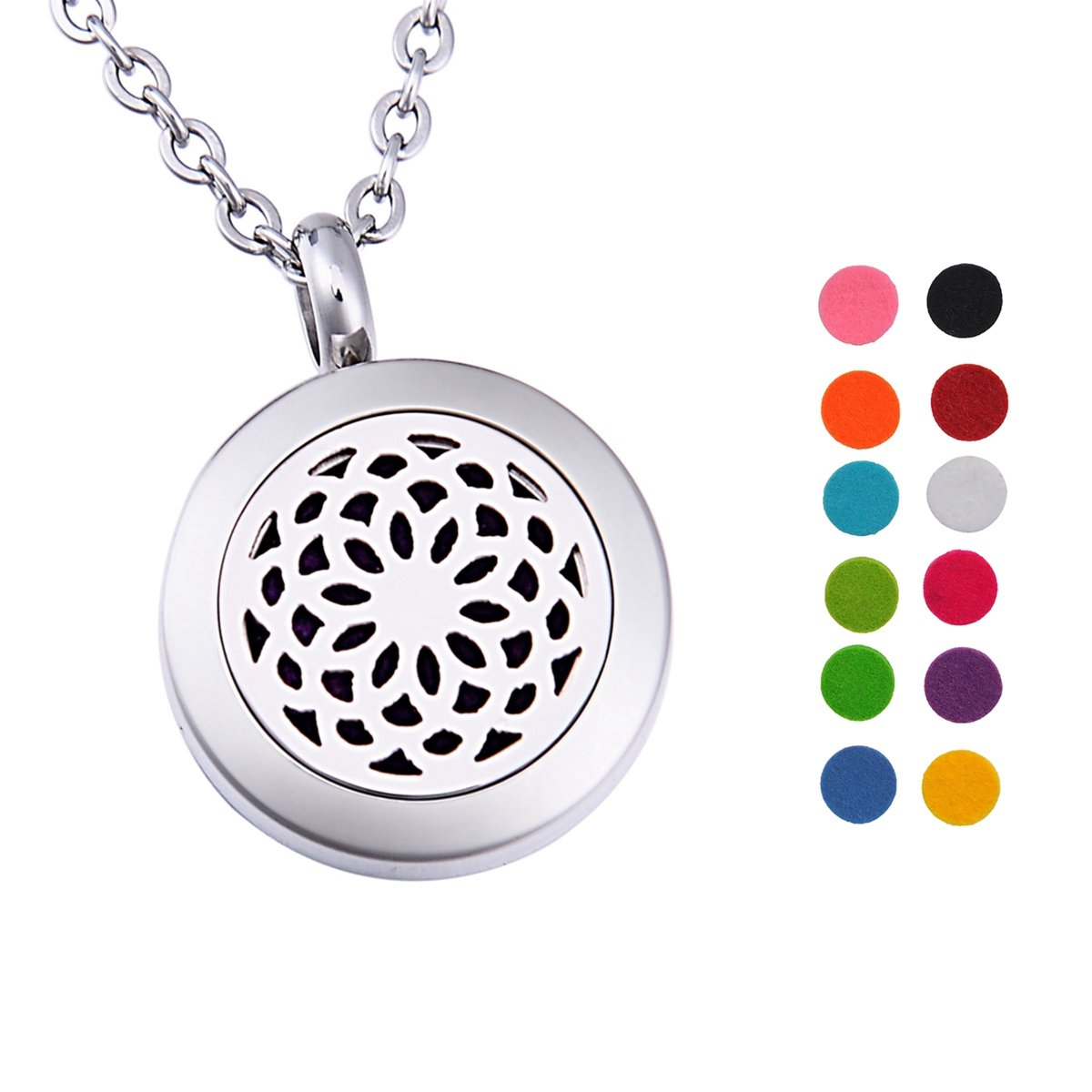 Personalized Birthstone Essential Oil Diffuser Necklace Sunflower Locket Pendant Jewelry Silver Tone Supreme glory SGto-B268427