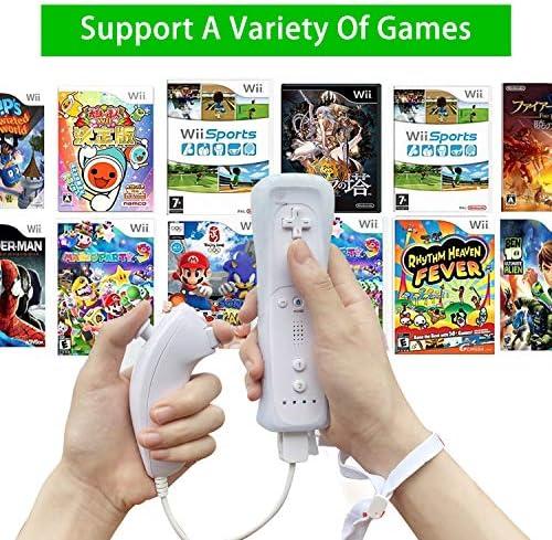 SogYupk - Mando a distancia Wii con Nunchaku Joystick, utilizado para Nintendo Wii y Wii U Consola, Gamepad con funda de silicona y correa de muñeca (1 juego), color blanco 9
