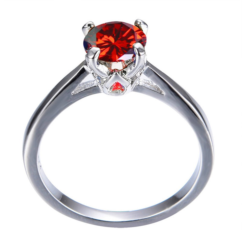 FR/&T ring Round Red Zircon Ring Vintage Jewelry for Women Wedding Engagement Bridal Rings