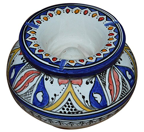 Moroccan Handmade Ceramic Ashtrays Smokeless Cigar Exquisite design with Vivid Colors X-large by Ceramic Ashtrays