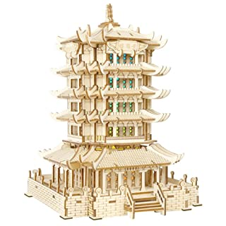 juler Educational Toy Building Puzzle Yellow Crane Tower Colorful Lights (Group B) 3D Wooden Model Three-Dimensional Puzzle PanelProcessing,Yellow,One Size
