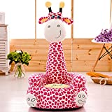 Cartoon Seats Giraffe Soft Children's Plush Chair Ideal for Children, Tatami Sofa,Ages 2 and up,17''L x 19''W x 31'' H (pink)