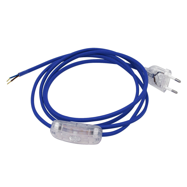 Cavo di collegamento alimentazione con rivestimento tessuto con jack spina europea UE Interruttore di mano sezione 2x 0, 75di 2metri (120cm a spina europea 80cm a estremità aperta in colore: blu ARTDITI SPA
