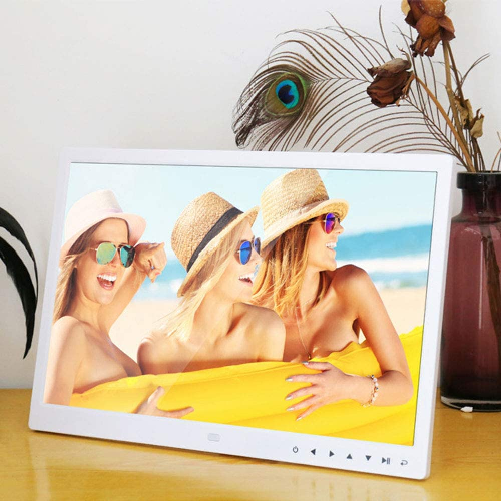 WMWHALE 13 Inch Digital Photo Frame 1280 X 800 HD LED Screen with Calendar MP3//Photo//Video Player with Remote Control Digital Picture Frame Gift Choice,White