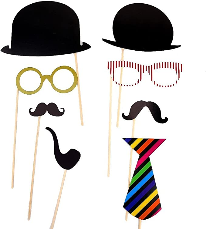58PCS Colorful Props On A Stick Mustache Photo Booth Party Fun ...