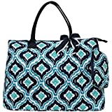 Ngil Quilted Cotton Extra Large Overnight Travel School Tote Bag 2 (Quatrefoil IKAT Navy Blue)