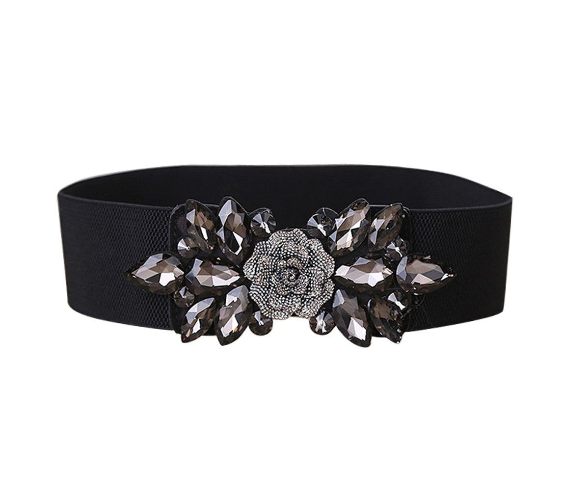 E-Clover Fashion Floral Rhinestone Buckle Women's Elastic Waist Cinch Belt for Dress (Black01) by E-Clover