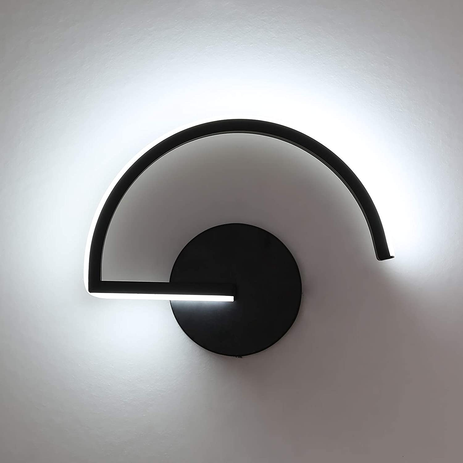 PULUOTI Modern LED Wall Sconce, Black Metal in Semi-arc Shape Indoor Decor Wall Light Fixture, 12W Cool White 6000K Wall Lamp for Living Room Bedroom Corridor Cafe Restaurant