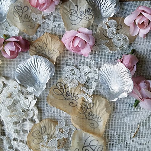(Lace, Rose Petals and Flower Confetti Toss for Wedding or Bridal Shower Table Runner Centerpiece)