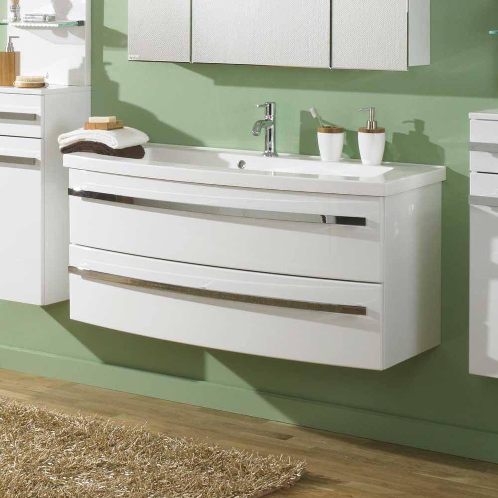 Waschtischunterschrank in Weiß Hochglanz mit Schubladen Pharao24