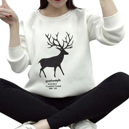 Sudadera de Navidad para Mujer, LILICAT Camisa Casual de Manga Larga con Estampado de Ciervos