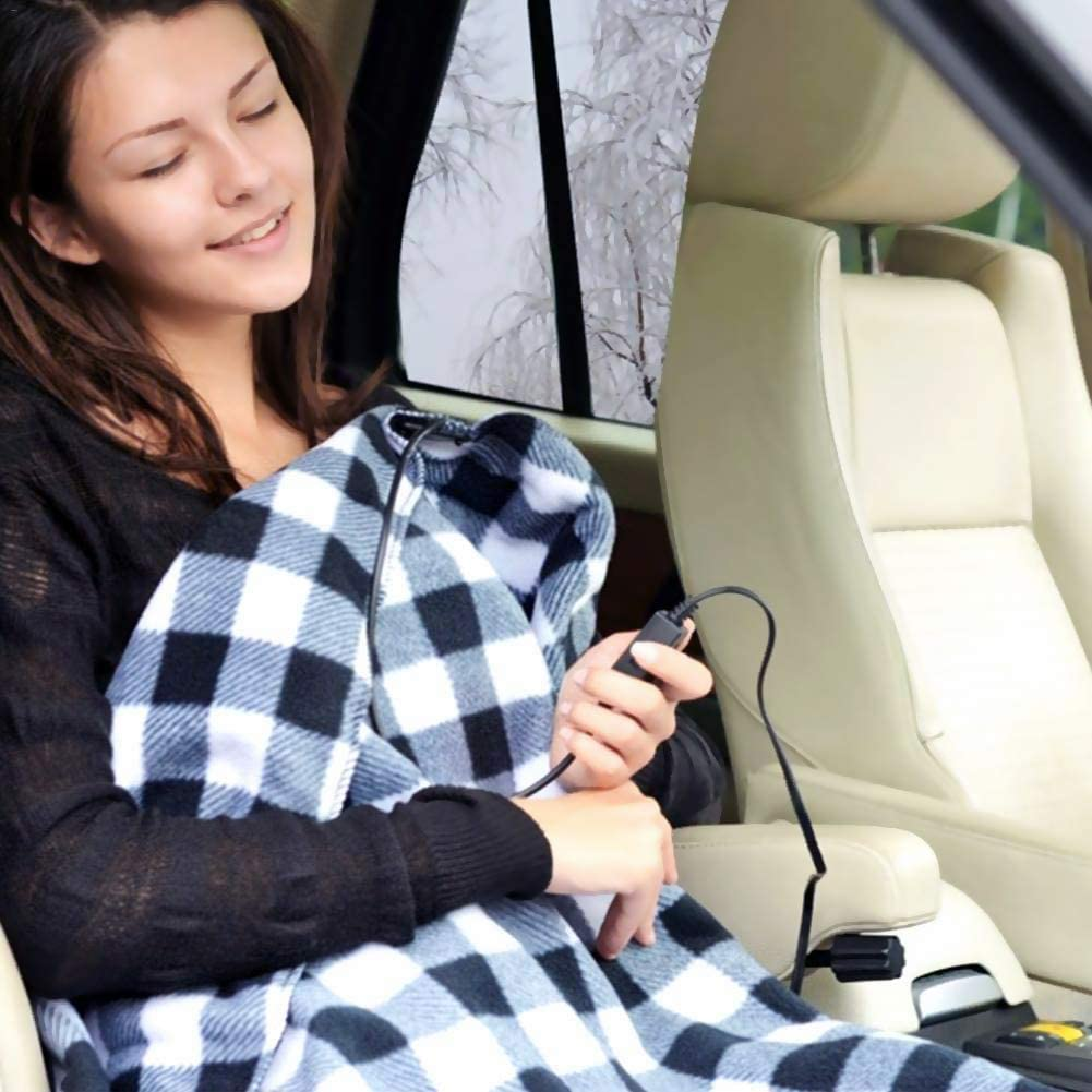 Navy Winter Cold Weather Travel Camping Use 12 Volt Electric Fleece Constant Temperature Anti-Overheat Heating Blanket for SUV Vehicle Truck Boats RV JanTeel Car Heated Blanket