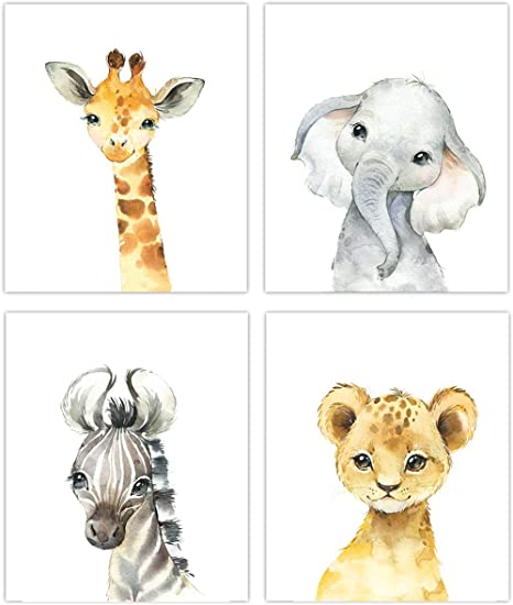 Set of 3 8x10 Unframed Safari Babies Nursery Wall Art Prints