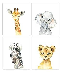 Little Baby Watercolor Animals Safari Prints Set of 4 (Unframed) Nursery Decor Art (8x10) (Option 1)