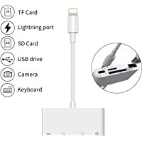 4D MD822ZM/A Apple 4-in-1 Lightning to SD Card Reader OTG Adapter Cable for iPhone and iPad (White)