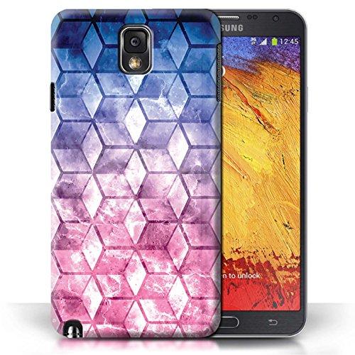 Etui / Coque pour Samsung Galaxy Note 3 / Bleu/rose conception / Collection de Cubes colorés