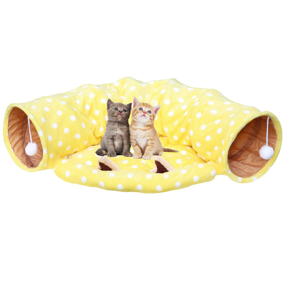 Towerin Cat Tunnel Toy and Bed with Scratching Ball Collapsible Cat Mate Easy to Clean Soft Removable Shack House Suitable for Puppy&Kitty (yellow)