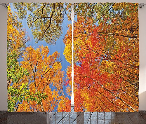 [Leaves Decor Curtains Falls Colors in National Country Park Nature Observation Base Perspective Photo Living Room Bedroom Decor 2 Panel Set Orange Blue Green,Size:2 x 54