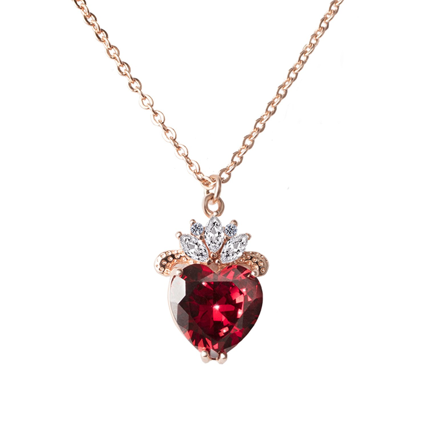 VINJEWELRY Queen of Hearts Evie Costume Necklace Descendants Ruby Red Heart Fashion Jewelry Gift for Her