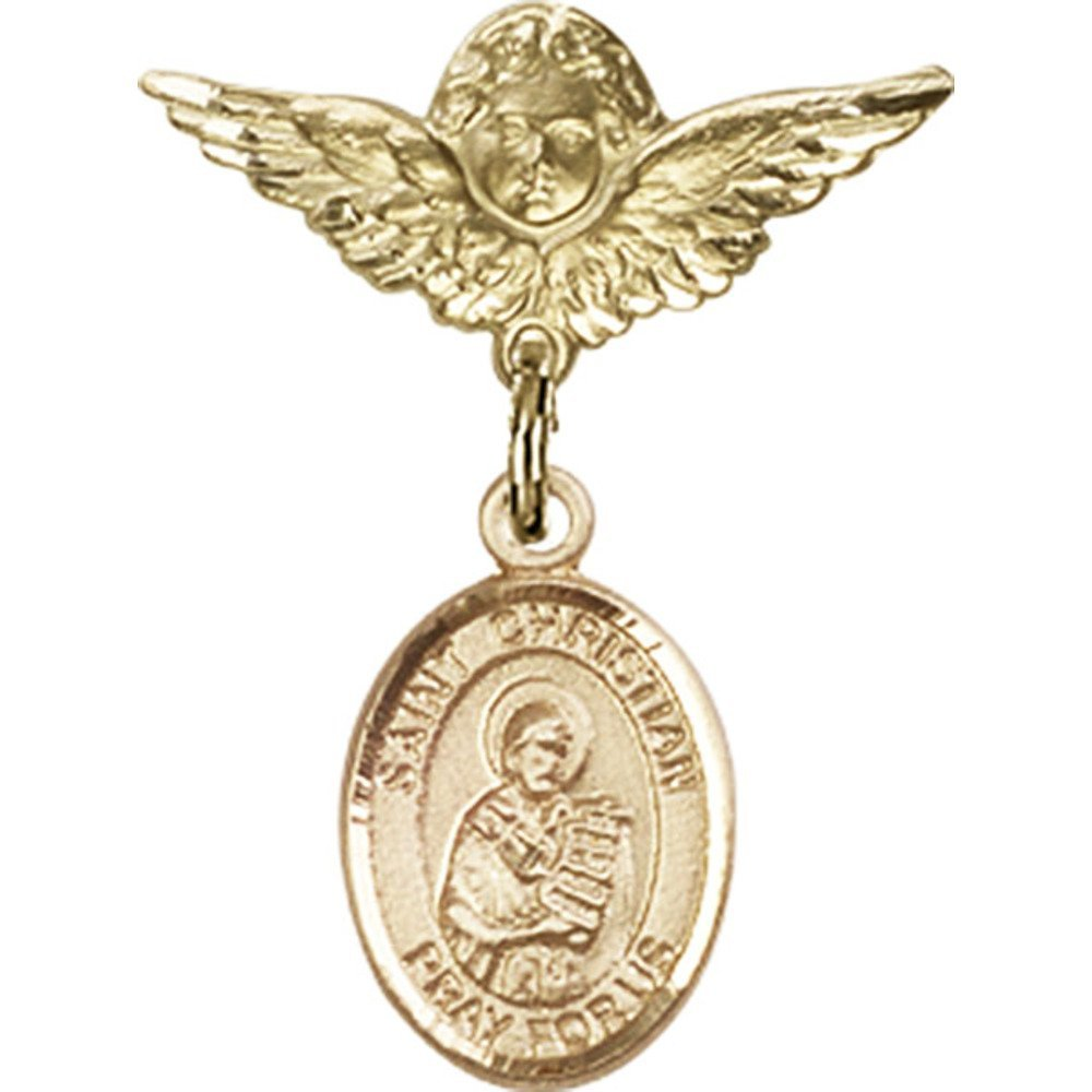 14kt Yellow Gold Baby Badge with St. Christian Demosthenes Charm and Angel w/Wings Badge Pin 1 X 3/4 inches by Unknown