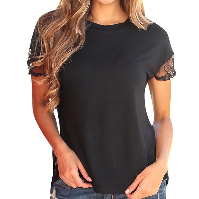 Camiseta Basica Mujer Casual Sudadera Parte Posterior de Encaje de Costura de Las Mujeres Manga Corta Top Cuello Redondo Sexy Negro Blusa Verano riou: ...