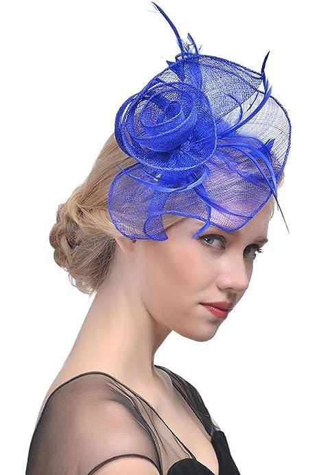 iLUGU Womens Fascinator Hat Cute Elegant Wedding Summer Tea Party Cap Cocktail Church Kentucky Derby Headwear Organza