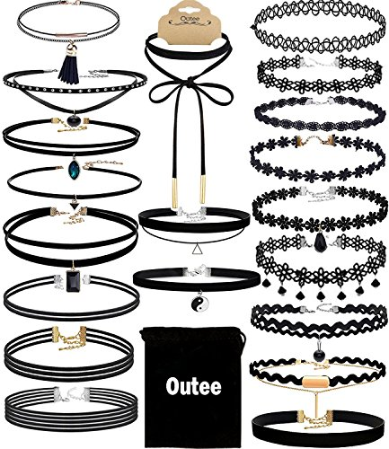 Velvet Choker Set, Outee 20 Pcs Classic Choker Necklace Layered Black Chokers Necklaces Cute Black Velvet Choker Necklace Womens