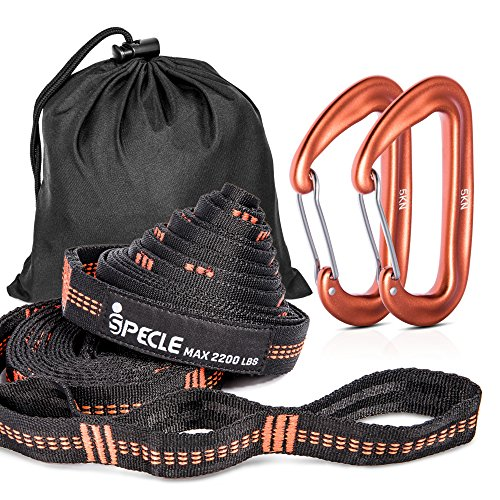 iSPECLE Hammock Straps, 9 Feet Long Tree Strap, Set with 2 Strong Carabiners by iSPECLE