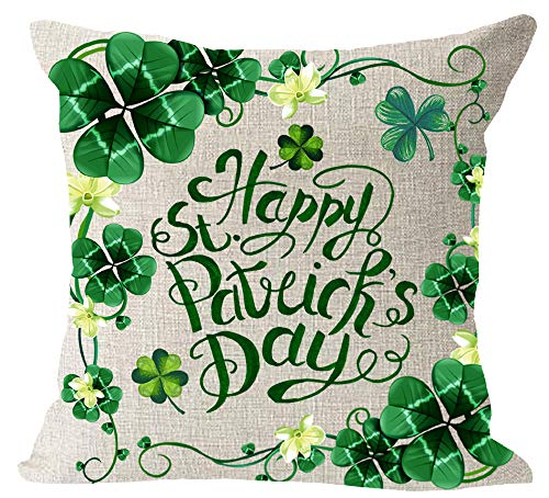Throw Irish Cotton (Happy St. Patrick Day Green Clover Blessing Irish National Day Gift Cotton Linen Square Throw Waist Pillow Case Decorative Cushion Cover Pillowcase Sofa 18x18 inches)