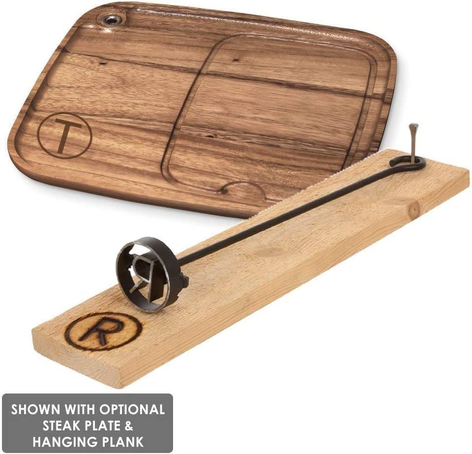 BBQ Fans Western S Branding Iron for Steak, Buns, Wood Leather Includes Redwood Plank Wood Steak Plate