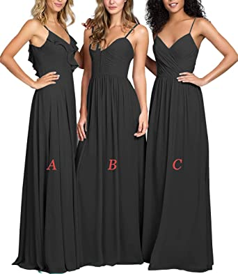2349f354bd68 Sweetheart Bridesmaid Dresses Long Chiffon Prom Evening Gowns Maxi Wedding  Party Dress Black-A US